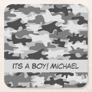 Grey Camo Camouflage Its A Boy Name Custom Square Paper Coaster
