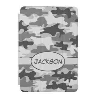 Grey Camo Camouflage Name Personalized iPad Mini Cover