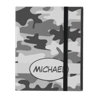 Grey Camo Camouflage Name Personalized iPad Cases