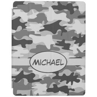 Grey Camo Camouflage Name Personalized iPad Smart Cover