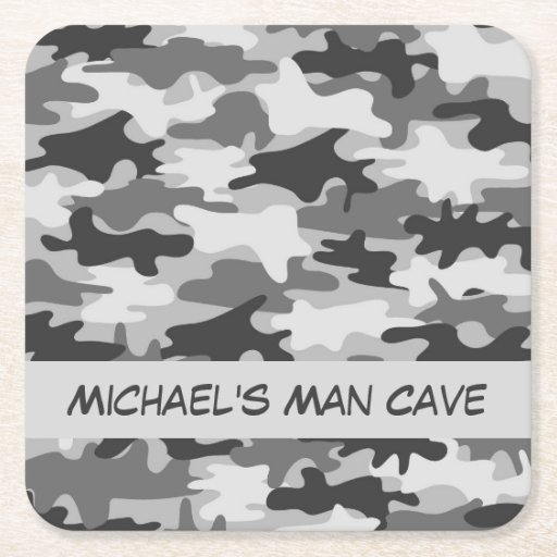 Man Cave Decor Camo : Grey camo camouflage name personalized man cave square