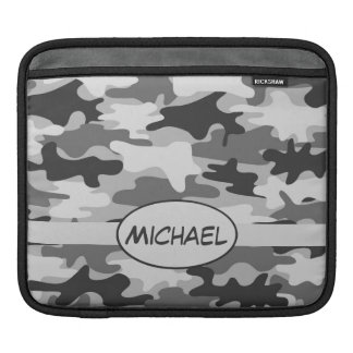 Grey Camo Camouflage Name Personalized Sleeve For iPads
