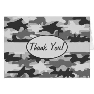 Grey Camo Camouflage Thank You Custom Card