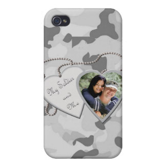 Grey Camo My Soldier & Me Custom Photo IPhone 4 Ca Case For iPhone 4