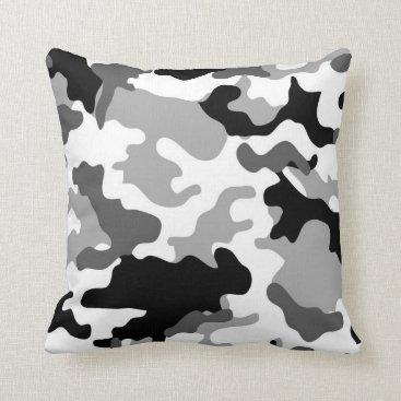 Grey Camo Throw Pillow