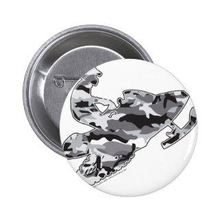 Grey Camoflage Snowmobiler Pinback Button