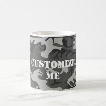 Grey Camouflage Custom Text Coffee Mug