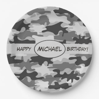 Grey Camouflage Happy Birthday Name Personalized Paper Plate