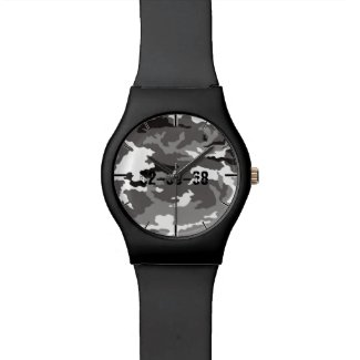 Grey Camouflage Pattern Wrist Watch