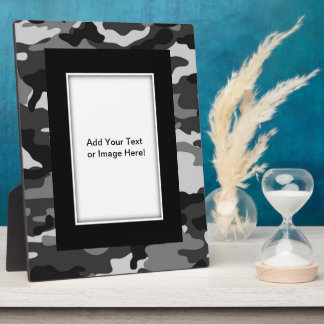 Grey camouflage Photo Plaques