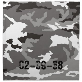 Grey Camouflage sample Printed Napkin