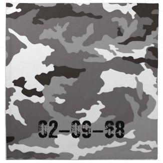 Grey Camouflage sample Printed Napkin