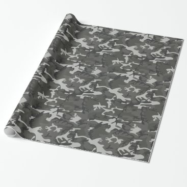 Grey Camouflage Wrapping Paper