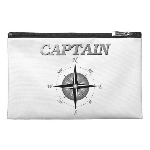 Grey Captain with Compass Rose Travel Accessory Bags