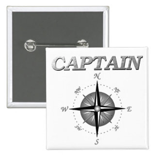 Grey Captain with Compass Rose Pinback Button