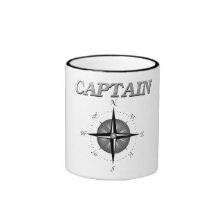 Grey Captain with Compass Rose Ringer Mug