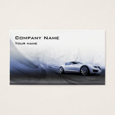Grey Car In The Motion Business Card at Zazzle