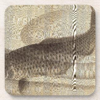 Grey carp in water by Utagawa Toyokuni II Coaster