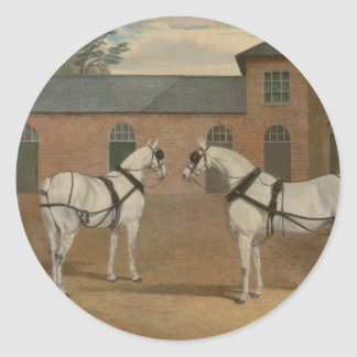 Grey Carriage Horses in The Coachyard - Herring Classic Round Sticker