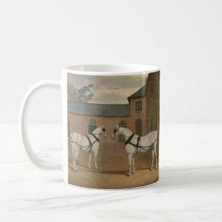 Grey Carriage Horses in The Coachyard - Herring Coffee Mug