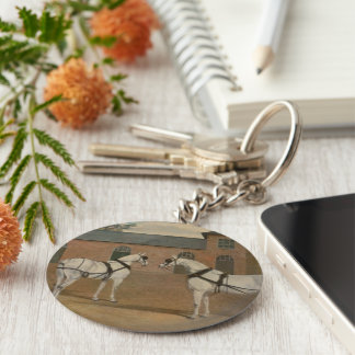 Grey Carriage Horses in The Coachyard - Herring Keychain