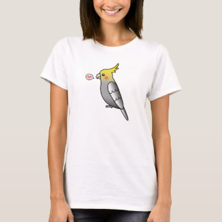 Grey Cartoon Cockatiel Parrot Bird Love T-Shirt