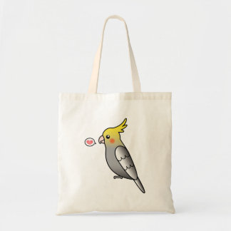Grey Cartoon Cockatiel Parrot Bird Love Tote Bag
