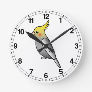 Grey Cartoon Cockatiel Parrot Bird Round Clock
