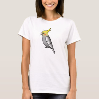 Grey Cartoon Cockatiel Parrot Bird T-Shirt
