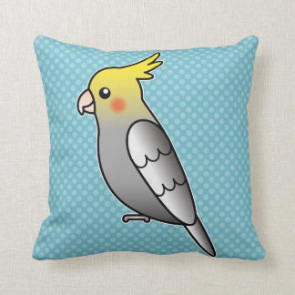 Grey Cartoon Cockatiel Parrot Bird Throw Pillow