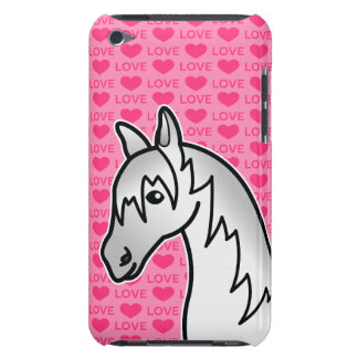Grey Cartoon Horse Love Hearts iPod Touch Covers