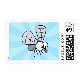 Grey Cartoon House Fly Stamp