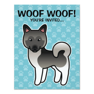 Grey Cartoon Norwegian Elkhound Moose Dog Card