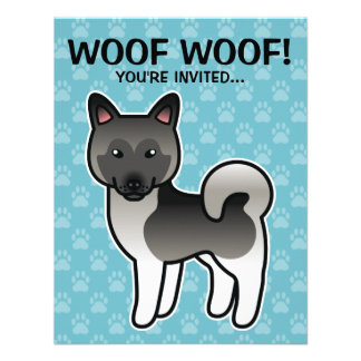 Grey Cartoon Norwegian Elkhound Moose Dog Personalized Invitations
