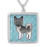 Grey Cartoon Norwegian Elkhound Moose Dog Jewelry