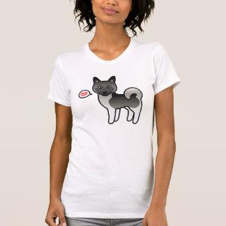 Grey Cartoon Norwegian Elkhound Moose Dog Love Shirts