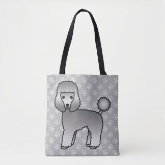 Grey Cartoon Toy Poodle Dog Breed Drawing Tote Bag