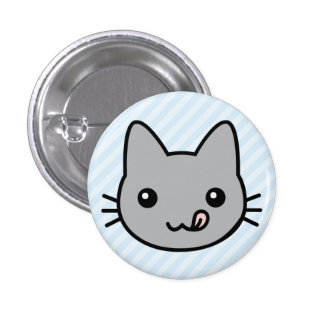 grey cat 1 inch round button