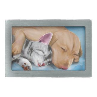Grey Cat and Brown Dog Sleeping and Hugging Rectangular Belt Buckle