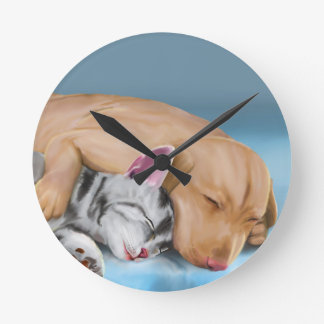 Grey Cat and Brown Dog Sleeping and Hugging Round Clock