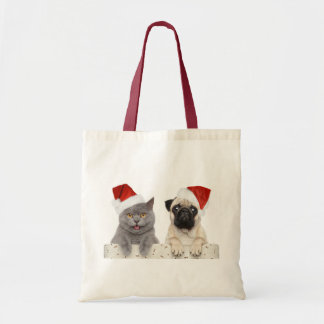 Grey cat and Chinese Pug Christmas Design Budget Tote Bag
