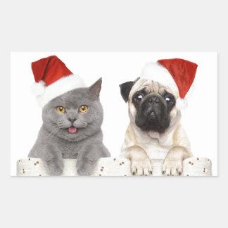 Grey cat and Chinese Pug Christmas Design Rectangular Sticker