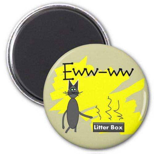 Eww-ww Stinky Litter Box and Grey Cat Round Refrigerator Magnet