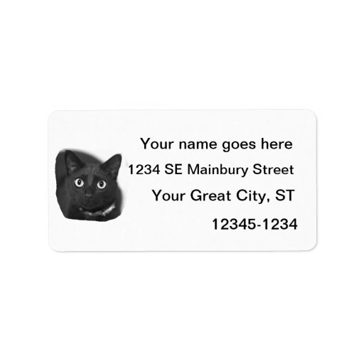 Grey Cat Big Eyes BW Picture Address Label