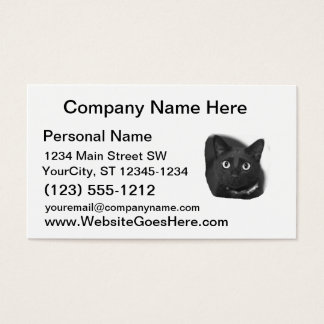 Grey Cat Big Eyes BW Picture Business Card