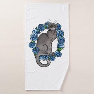 Grey Cat Blue Roses Caturday Gray Cats Bath Towel