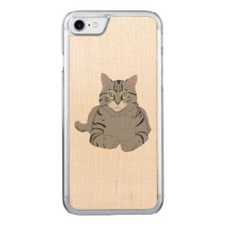 Grey cat cartoon carved iPhone 7 case