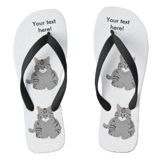 Grey cat cartoon flip flops
