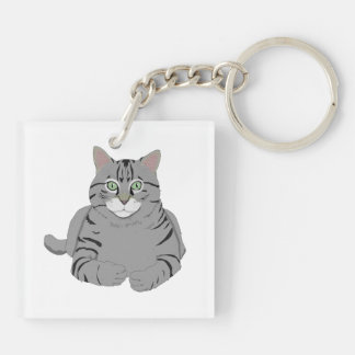 Grey cat cartoon keychain