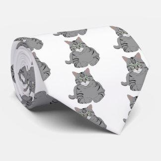 Grey cat cartoon neck tie